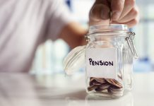 Image of a senior person putting money into a jar as a private pension top up metaphor