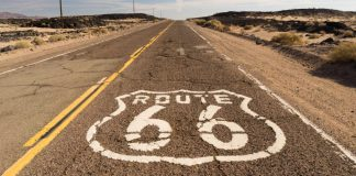 Image of Route 66 road that people on Route 66 holidays will see in the Southwest
