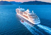 Aerial image of beautiful cruise liner sailing on a Mediterranean cruise 2019