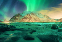 Northern lights in Lofoten islands, Norway, showing one of the places in the world where to see the Northern Lights.