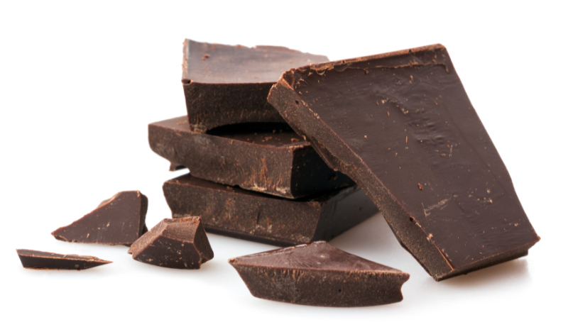 Brain food – Chocolate pieces on white background.