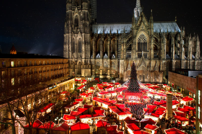 Christmas Market breaks by air – aerial view of Cologne Christmas Market