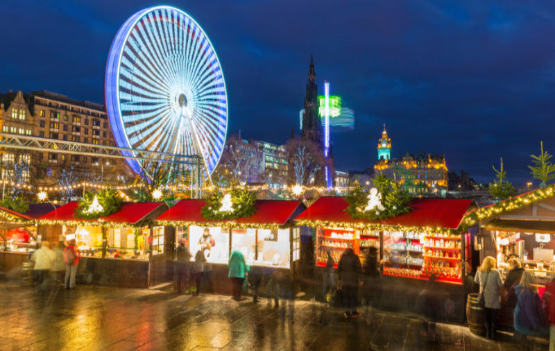 Christmas Markets 2019 - Wide angle view of the Christmas Markets in Princes Street Gardens in Edinburgh, Scotland, UK.