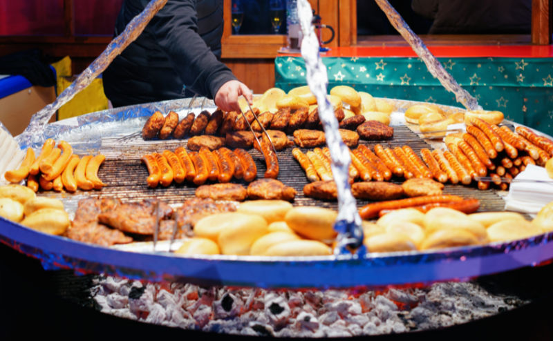 Christmas Markets 2019 – Grilled sausages at Christmas Market