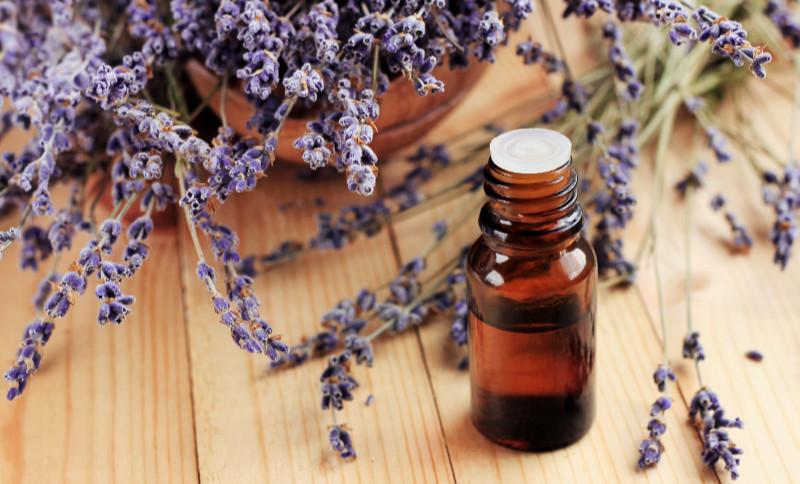 Dried purple plant flowers, dark glass dropper bottle, wooden table