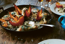 Chicken with wild mushrooms, pumpkin, rice and sage butter