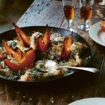 chicken with wild mushrooms, pumpkin, rice and sage butter