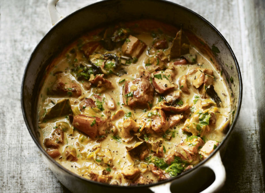 A stew of pork, bacon and mushrooms with cream, cider and parsley from Time by Gill Meller