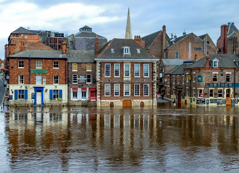 York, England, United Kingdom - October 23, 2004: River Ouse bursted its banks due to heavy rainfall. View on King's Staith in York