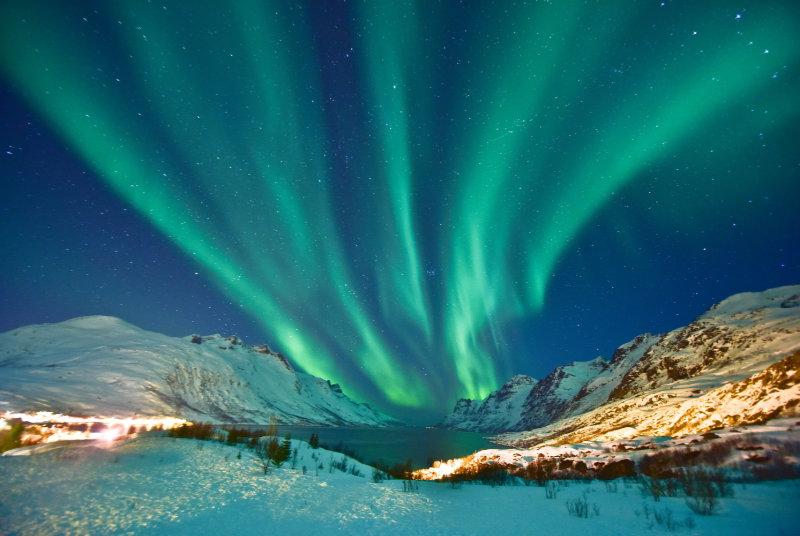 Tromsø Norway in aurora borealis display