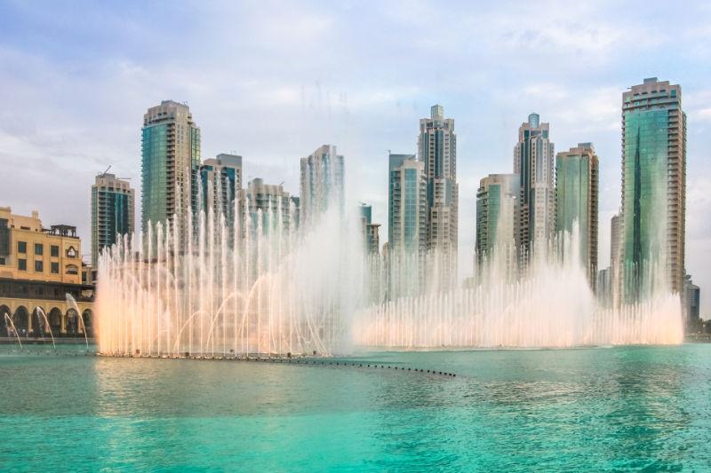Winter sun destinations The Dubai Fountain, Burj Khalifa Lake, Dubai