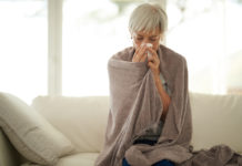 How to stop a cold developing in winter with a senior woman suffering from a cold