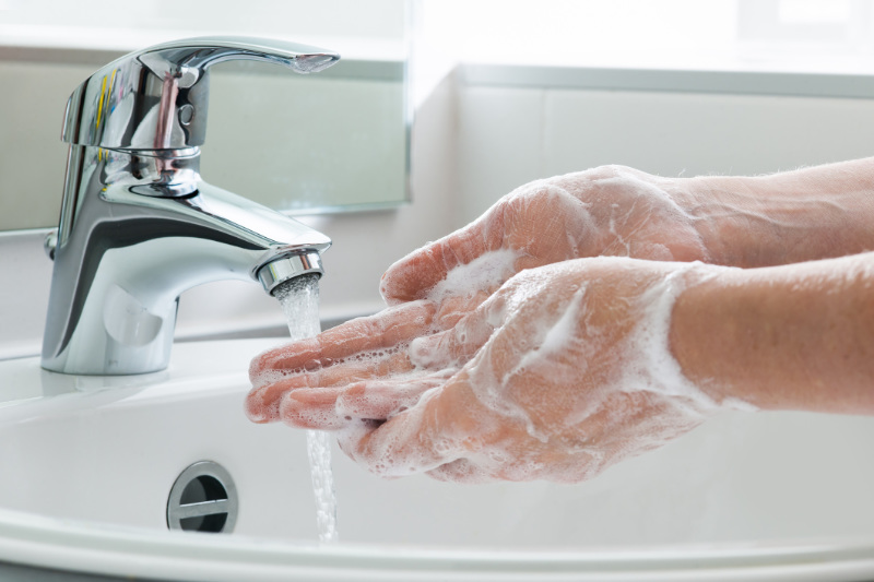Cold and flu prevention by washing hands