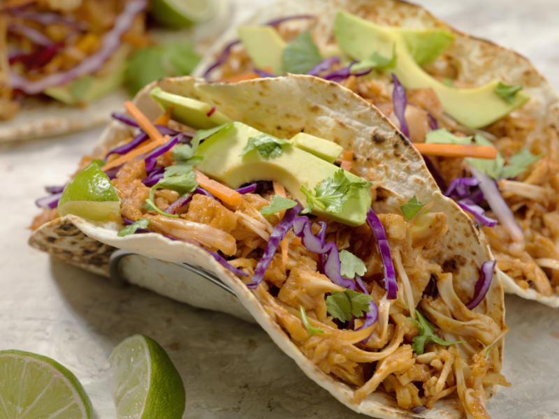 Food trends 2020 BBQ Pulled JACK FRUIT Taco with Avocado, Cabbage and Lime