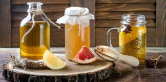 Various jars of fermented kombucha