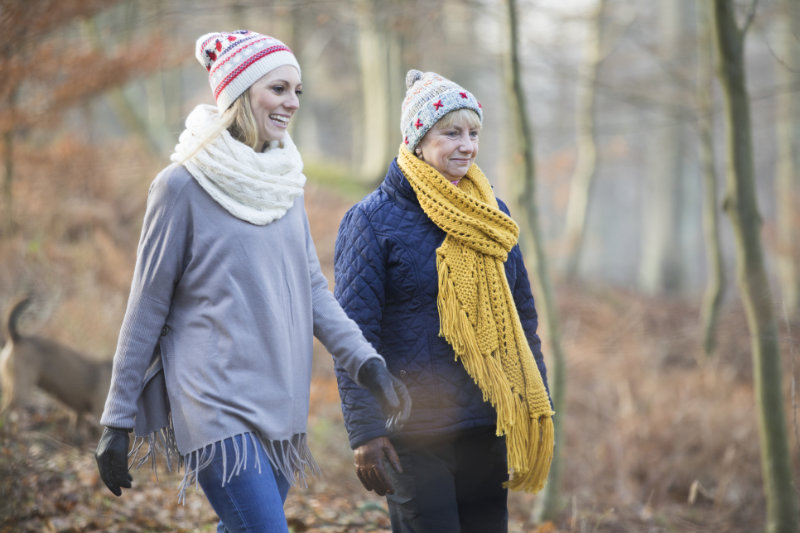 Wellbeing Christmas tips Two friends go on a winter walk together.