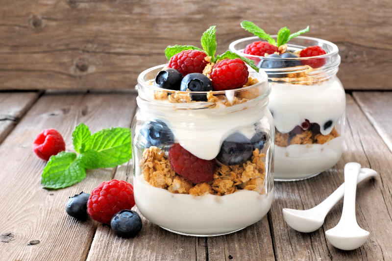 Granola is a great way to get blueberry health benefits at the start of the day.