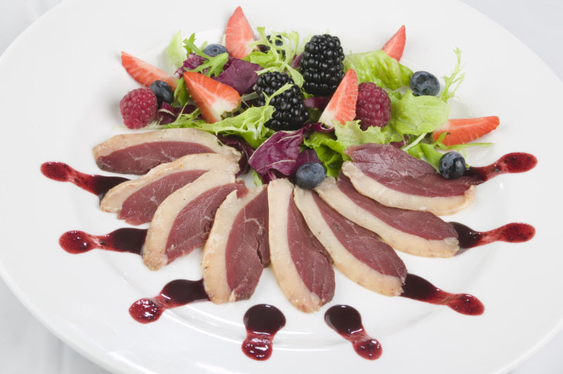 Blueberries and duck