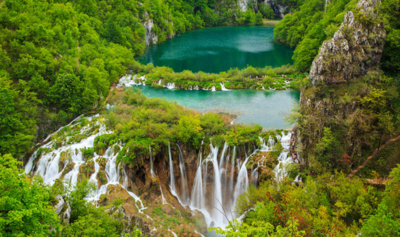 Famous waterfalls Waterfalls in Plitvice National Park, Croatia
