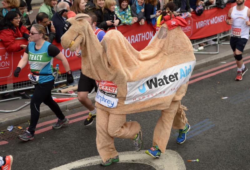 Marathon runners in fancy dress during the 2015 London Marathon (Adam Davy/PA)