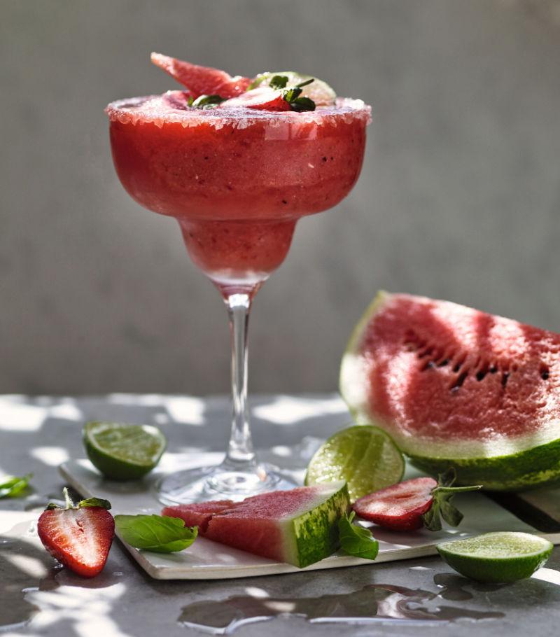 Frozen strawberry & watermelon margarita non-alcoholic cocktail