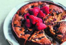Chocolate chip, raspberry & almond cake (Izy Hossack/PA)