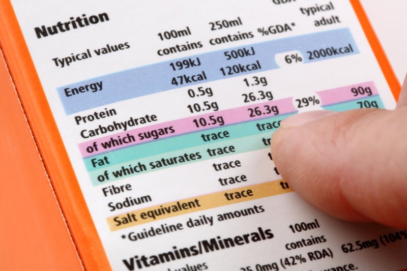 Ditch sugar Reading a nutrition label on food packaging