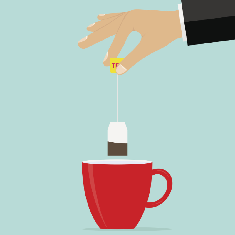 Health benefits of tea The hand holds a teabag over the cup. Brew tea. Flat design, vector illustration