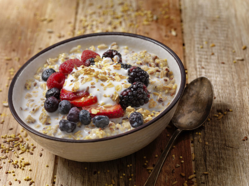 High fibre foods flaxseeds on breakfast