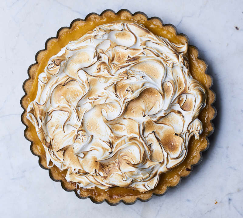 Lemon sherbet meringue pie