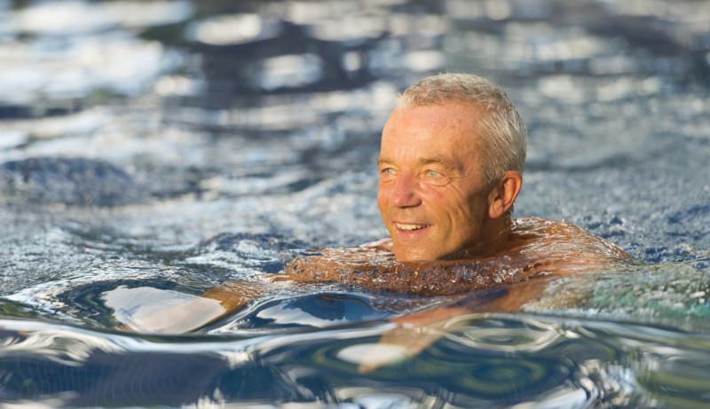 Mental health benefits of swimming Senior Man Swimming
