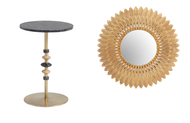 Home trends 2020 gold mirror and side table