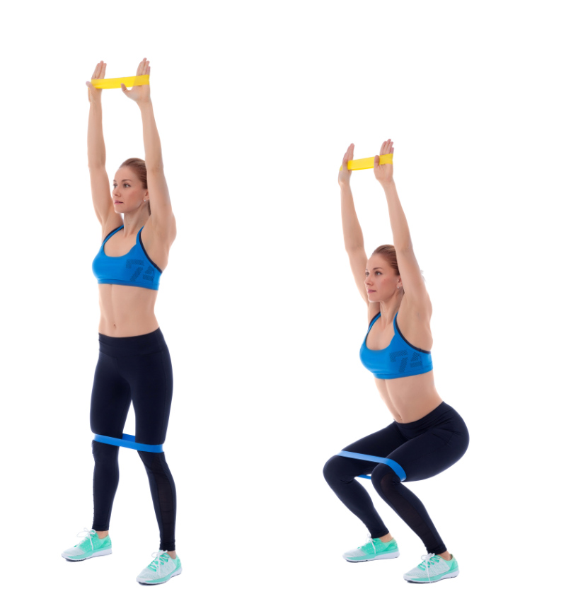 Resistance band leg exercises Elastic band exercises executed with a professional trainer.
