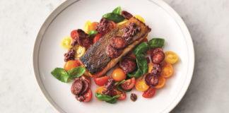 Salmon with chorizo