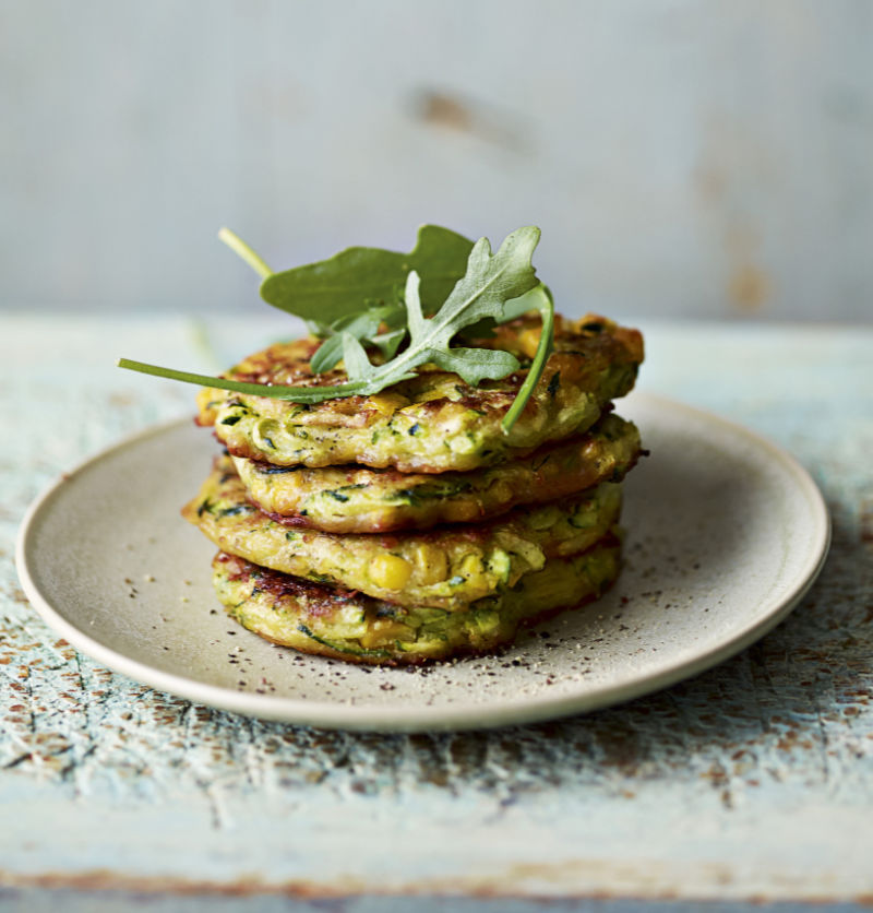 courgette and sweetcorn fritters from Miguel Barclay's Vegan One Pound Meals (Dan Jones/Headline Home/PA)