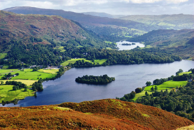 Travel trends 2020 An aerial view of Grasmere from the slopes of Silver Howe. English Lake District National Park