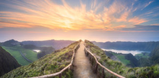 Mountain landscape with hiking trail and view of beautiful lakes Ponta Delgada, Sao Miguel Island, Azores, Portugal (iStock/PA)