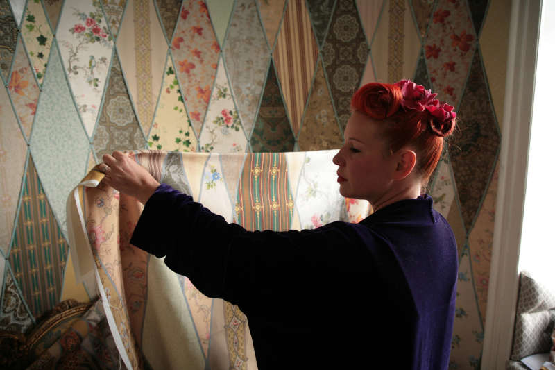 Angel decorated the honeymoon suite with scraps of vintage wallpaper the couple found hidden away in the attic at the Chateau (Kindling Media/PA)