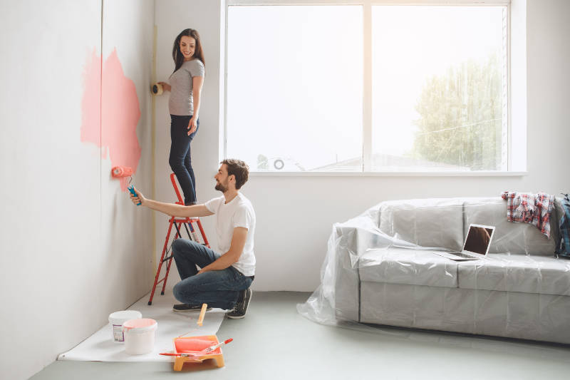 How to paint a room involves taking time to cover surfaces properly.