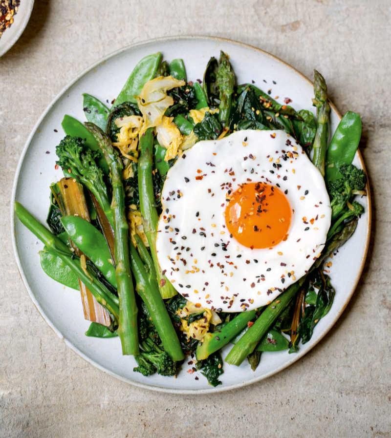 miso stir-fired greens from Lose Weight & Get Fit by Tom Kerridge (Bloomsbury Absolute/Cristian Barnett/PA)