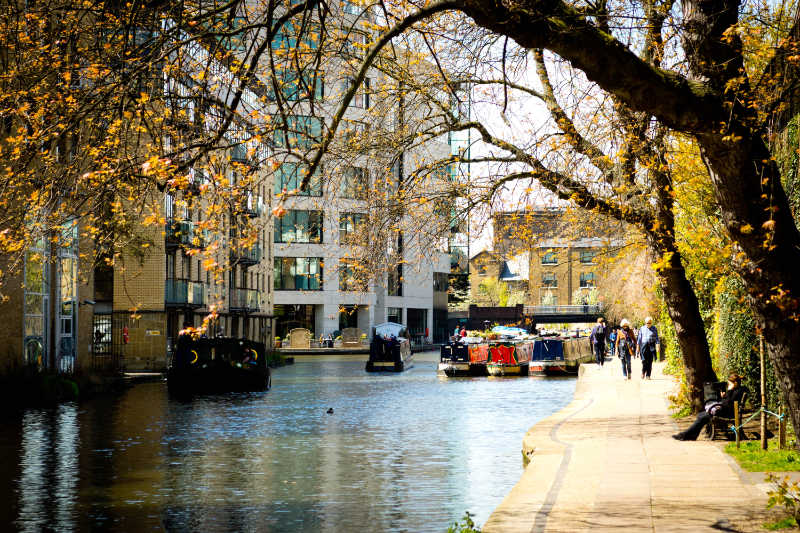 Regent's Canal in London makes for great narrow boat holidays