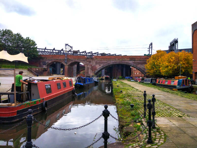 Bridgewater Canal (in the South Pennine Ring) in Manchester, England, United Kingdom. Industrial area