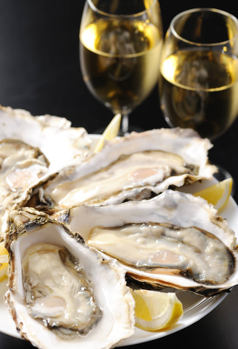 Fresh oyster and white wine.