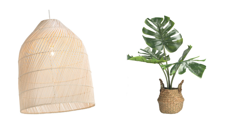 Large Java Lamp Shade – Natural Rattan, £59, Made.com; Faux Cheese Plant in Rattan Basket, £43.50, see Gisela Graham for stockists (Made.com/Gisela Graham/PA)