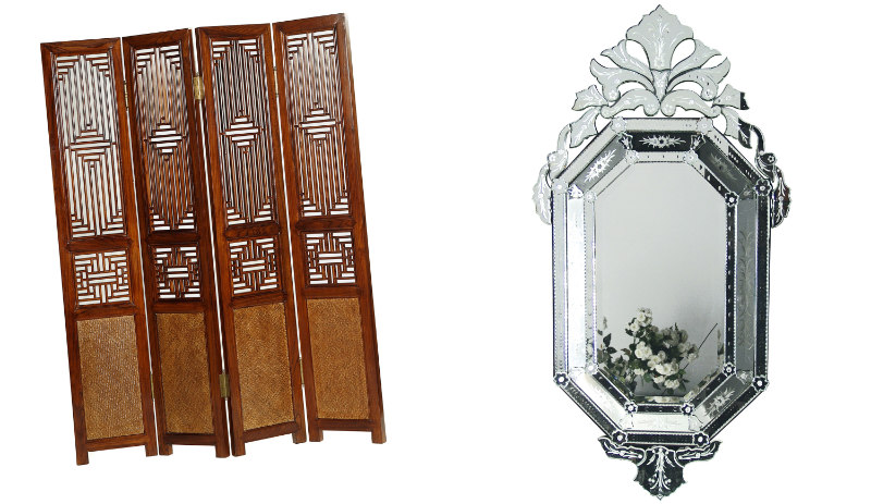 Carved Ming Screen – Warm Elm, £1,695, Shimu; Venetian Orchid Mirror, £345, The French Bedroom Company (Shimu/The French Bedroom Company/PA)