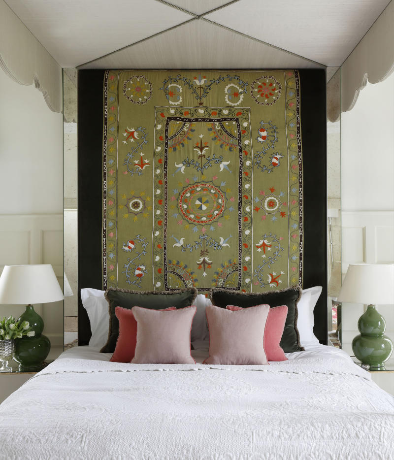 Headboard in antique fabric on mirrored four-poster bed frame, VSP Interiors, POA (VSP Interiors/PA)