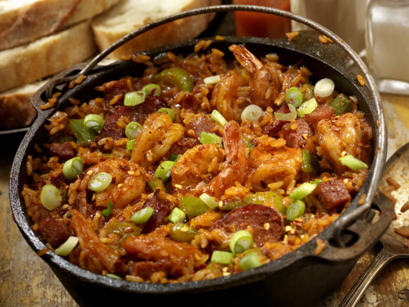 """""""Creole Style Shrimp and Sausage Jambalaya in a cast iron pot with Hot sauce, corn bread- Photographed on Hasselblad H3D2-39mb Camera"""""""