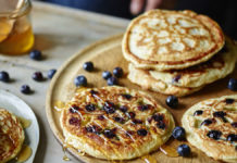 Handout image of Joe Wicks' American-style Blueberry Pancakes from Cooking For Family And Friends published by Bluebird