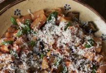 Pasta with aubergine from Rachel Roddy's Two Kitchens (Nick Seaton/Headline Home/PA)