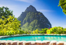 A pool overlooking the Pitons in St Lucia (Thinkstock/PA)